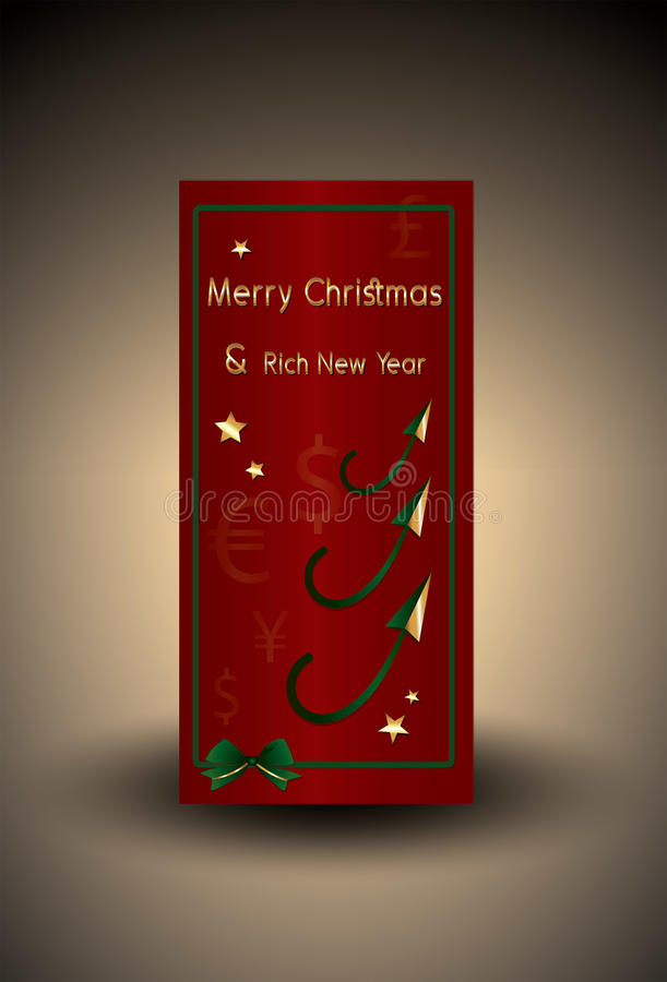 Bank Christmas card with money and gold stars stock photography