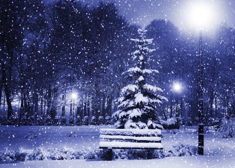 Bank, christmastree und Laterne stockfotos