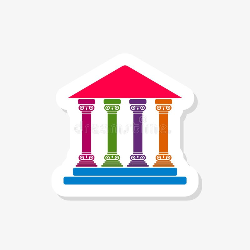 Bank, courthouse, parthenon architecture greek temple icon isolated on white background vector illustration
