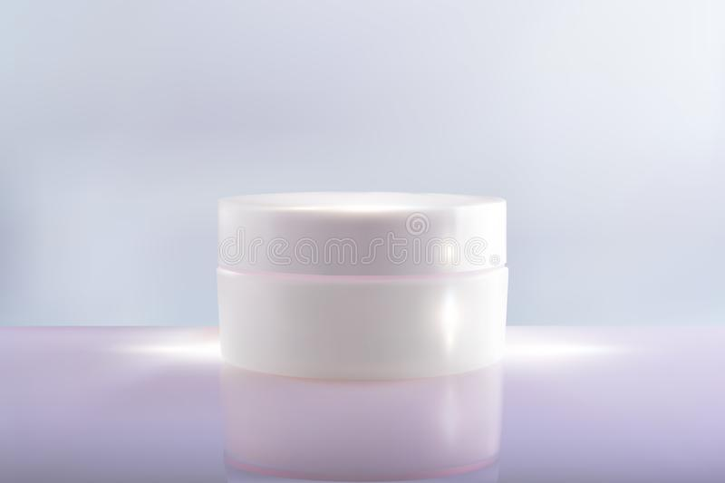 Bank cream package on a pink blue background. 3d vector cosmetic make up cream. Cosmetic cream container. Jar of cream stock illustration