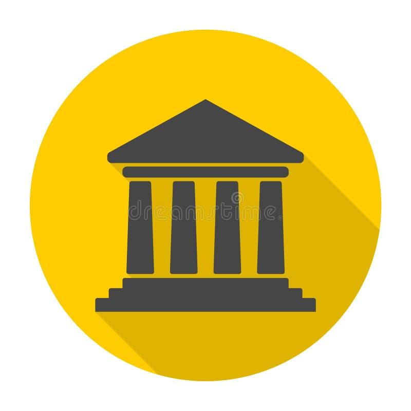 Bank de bouwpictogram, Hof de bouwpictogram met lange schaduw stock illustratie