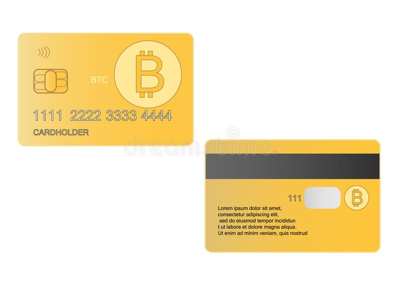 Bank debit card bitcoin, crypto currency eps 10 stock illustration