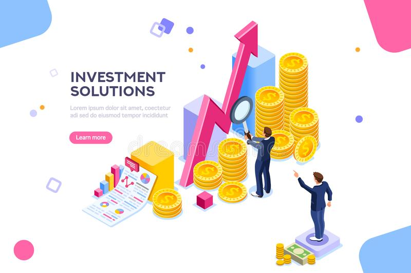 Investments Economics Strategy Analysis Concept Vector. Bank development economics strategy. Commerce solutions for investments, analysis concept. Analysis of vector illustration