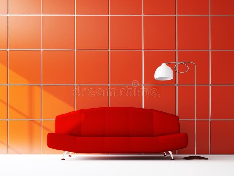 Bank dichtbij de rode muur stock illustratie