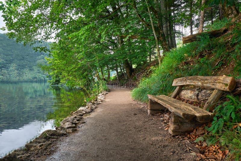 Bank dichtbij het Meer in Plitvice, het Nationale Park van Kroatië stock foto