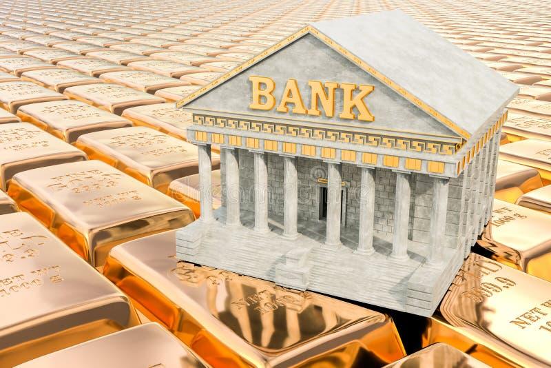 Bank die op de achtergrond van gouden baren voortbouwen, het 3D teruggeven royalty-vrije illustratie