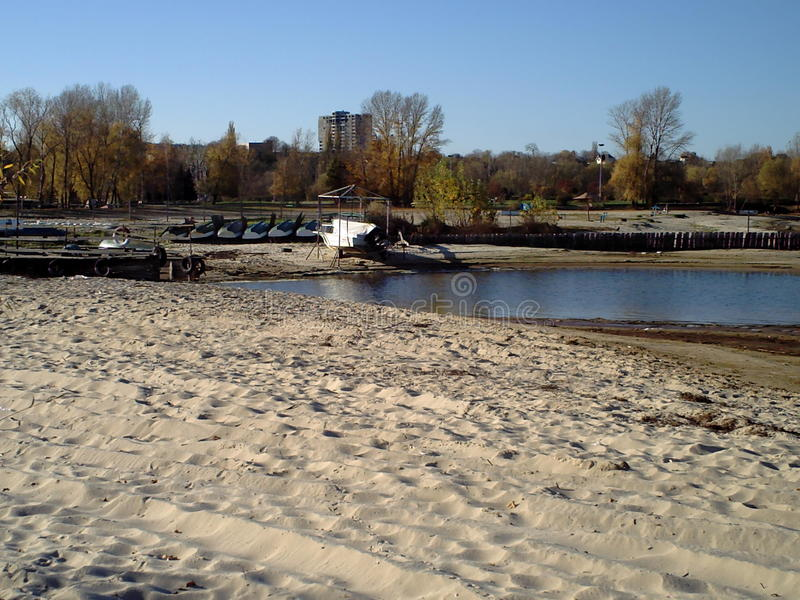 Bank of the Dnieper in Ukraine in Cherkasy early autumn royalty free stock image