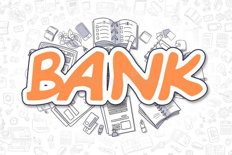 Bank - Doodle Orange Text. Business Concept. Bank - Sketch Business Illustration. Orange Hand Drawn Inscription Bank Surrounded by Stationery. Doodle Design stock illustration