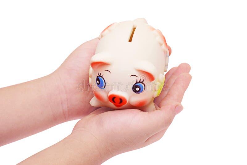 bank dziecko ręce palm świnka s fotografia stock