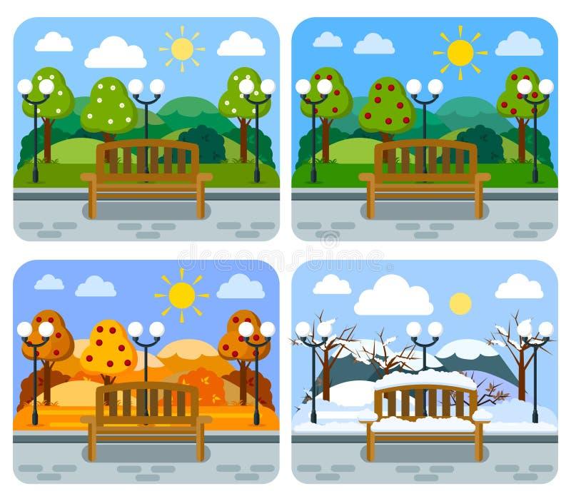 Bank in einer flachen art 4 jahreszeiten vektor abbildung for Garten 4 jahreszeiten
