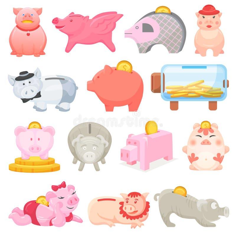 Bank eller bössa för ask för svin för spargrisvektorpengar finansiell med uppsättningen för investeringbesparing- och myntillustr stock illustrationer
