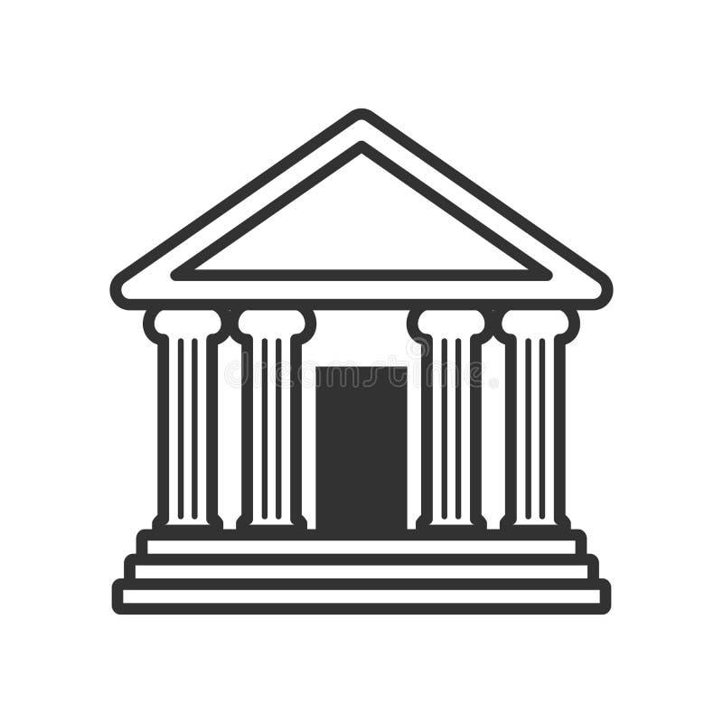 Bank eller tempel med kolonnöversiktssymbolen vektor illustrationer