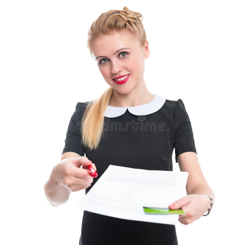 Bank employee offers you sign a contract stock photo