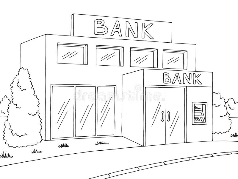 Bank exterior graphic black white sketch illustration vector stock illustration
