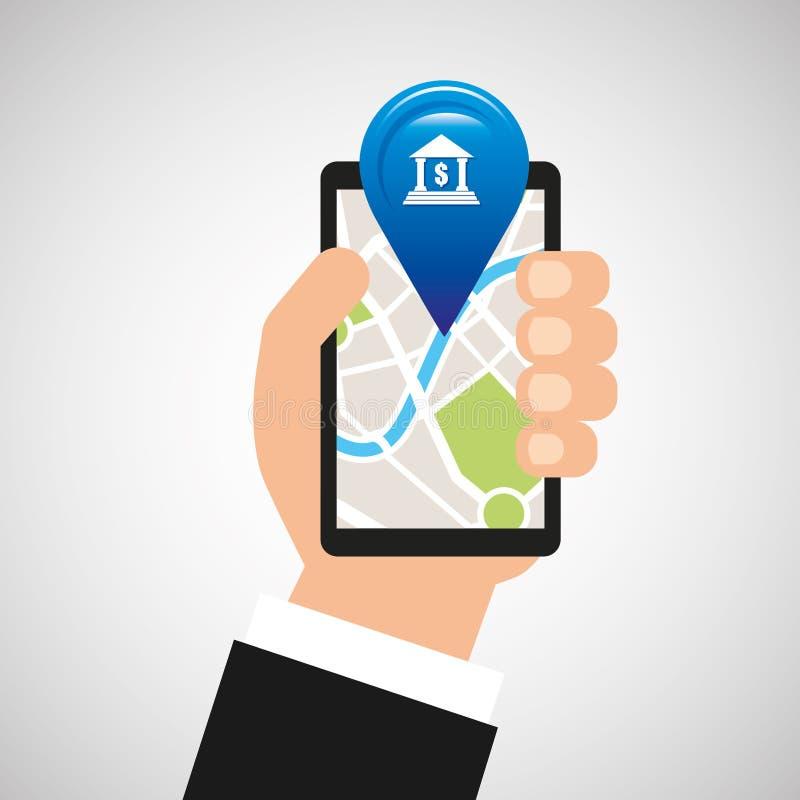 Bank för app för navigering för handhålltelefon stock illustrationer