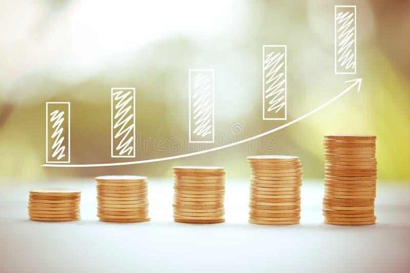 Bank för graf för pengarmyntbunt växande på naturbakgrund, sparande finans arkivfoton