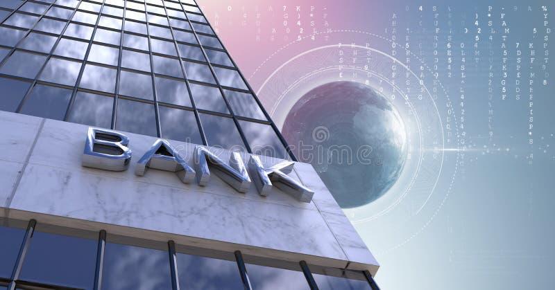 Bank för högväxta byggnader med världsjordklotbakgrund stock illustrationer
