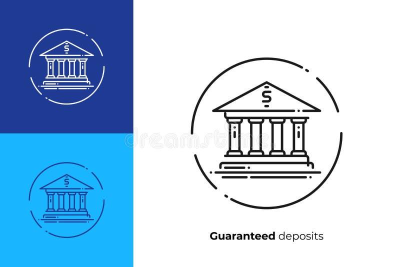 Bank facade line art vector icon stock illustration