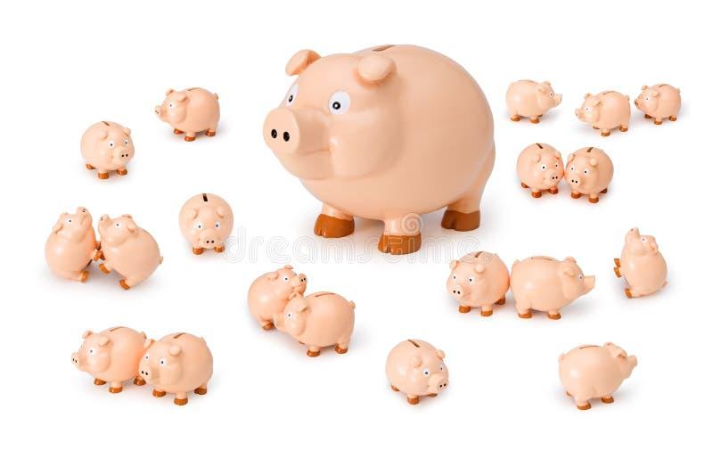 bank family piggy royaltyfri fotografi