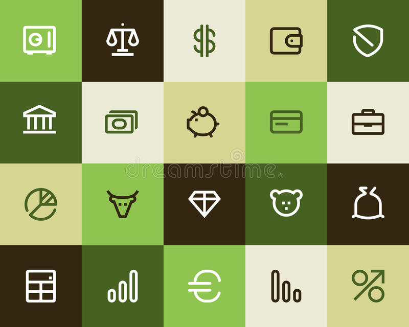 Bank and finance icons. Flat royalty free illustration