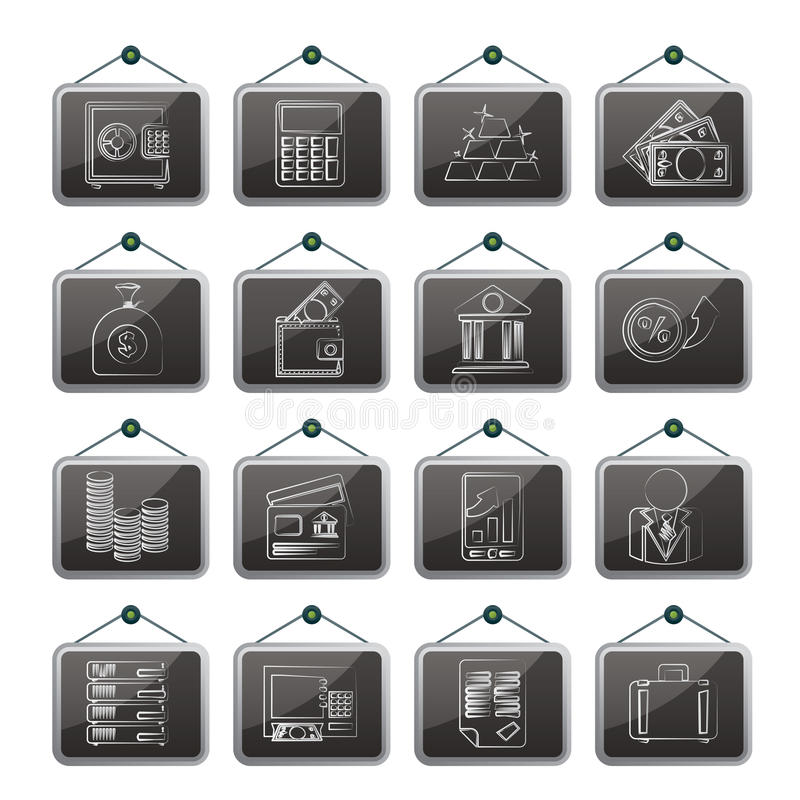 Bank and Finance Icons. Vector Icon Set stock illustration
