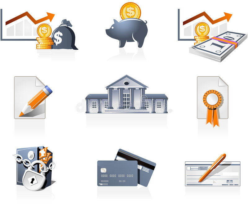 Bank and finances icons. Bank, finances and stock-market icons