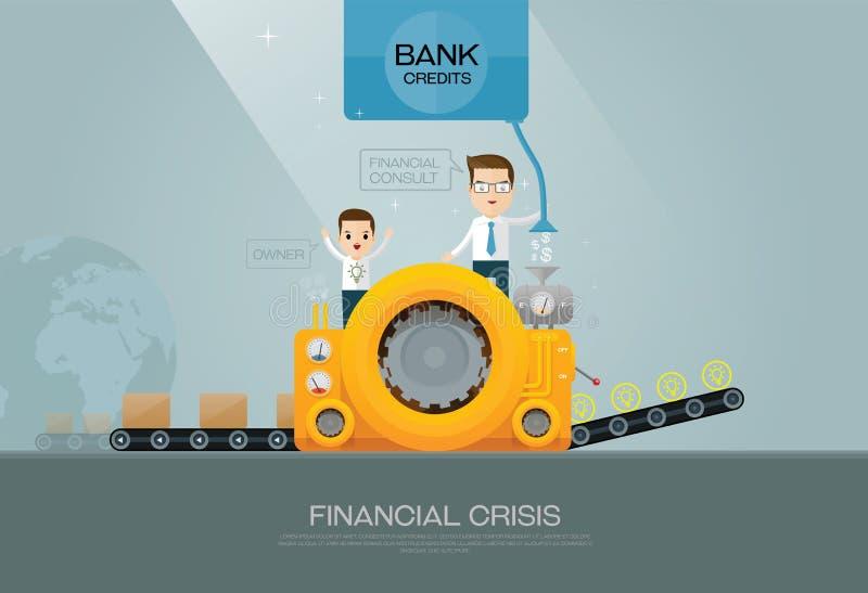 Bank financiële adviseur en fabrikant stock illustratie