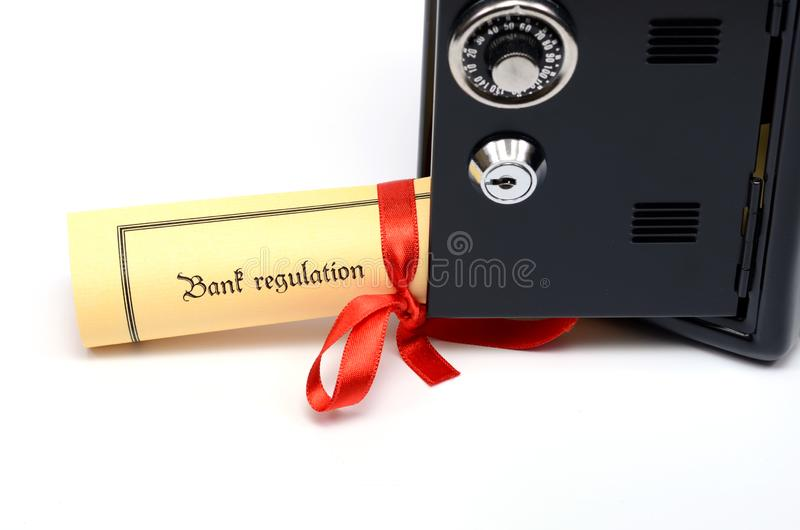 Bank and financial regulations and steel safe royalty free stock images