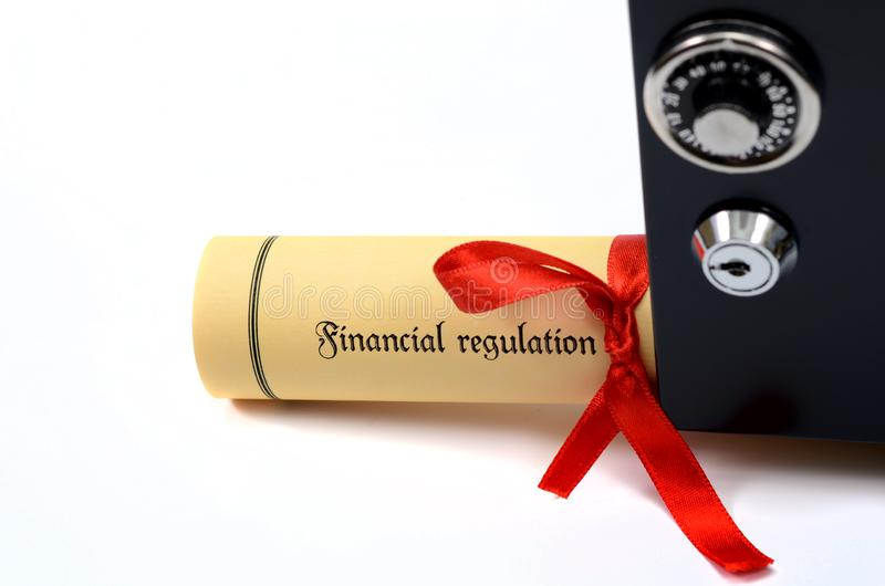 Bank and financial regulations and steel safe stock image