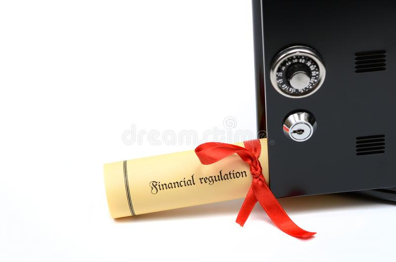 Bank and financial regulations and steel safe stock images