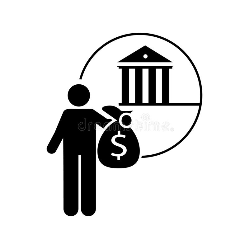 Bank, finanziell, Verlegenheitsikone Element der Investormannikone Erstklassige Qualit?tsgrafikdesignikone Zeichen und Symbolsamm lizenzfreie abbildung