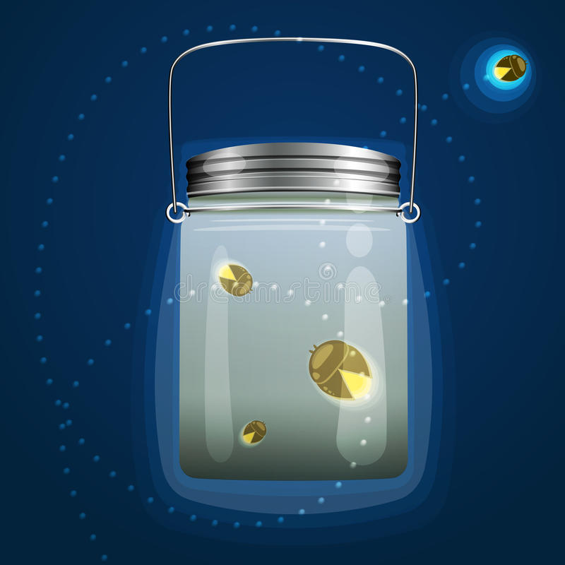 Bank fireflies glow. Vector illustration of magical glass jar with fireflies bugs. This is used in the design for registration cards, pages, wall, wallpaper royalty free illustration