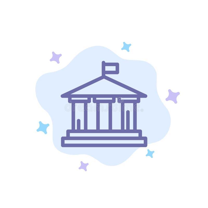 Bank, Flagge, Amerikaner, blaue Ikone USA auf abstraktem Wolken-Hintergrund vektor abbildung