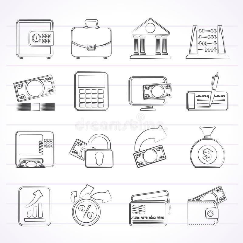 Bank-, Geschäfts- und Finanzikonen vektor abbildung