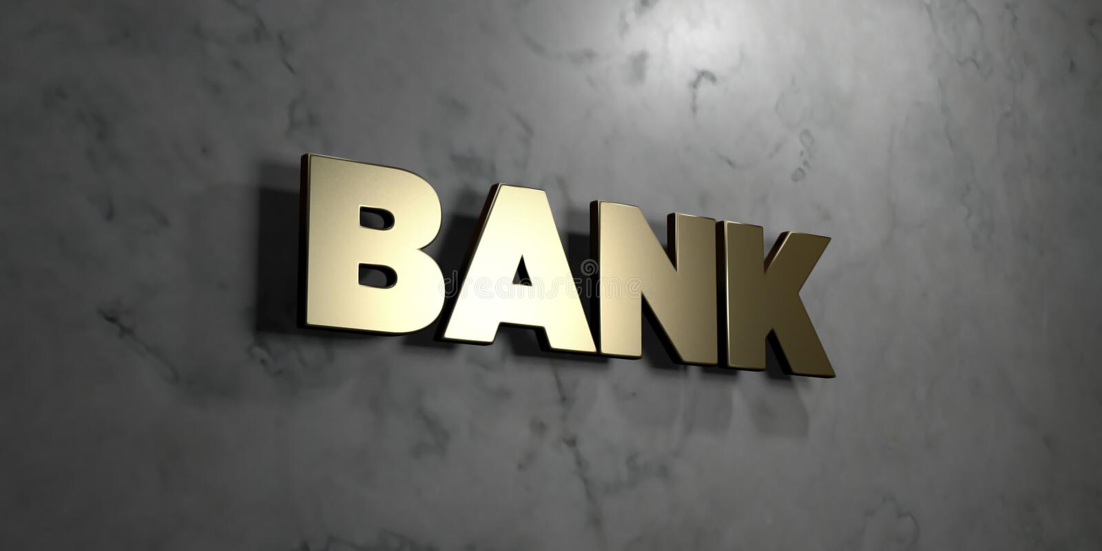 Bank - Gold sign mounted on glossy marble wall - 3D rendered royalty free stock illustration. This image can be used for an online website banner ad or a print royalty free illustration