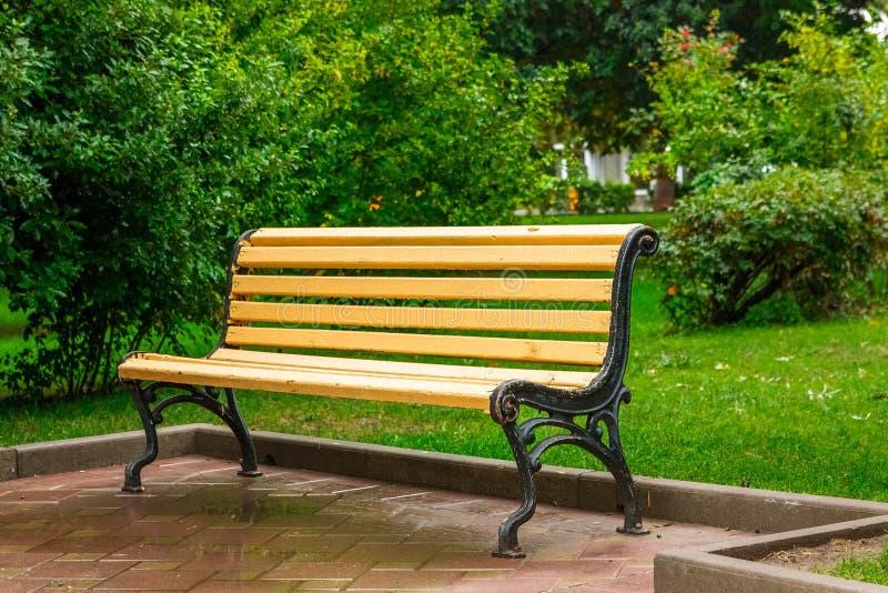 Bank in het park na de regen royalty-vrije stock afbeeldingen