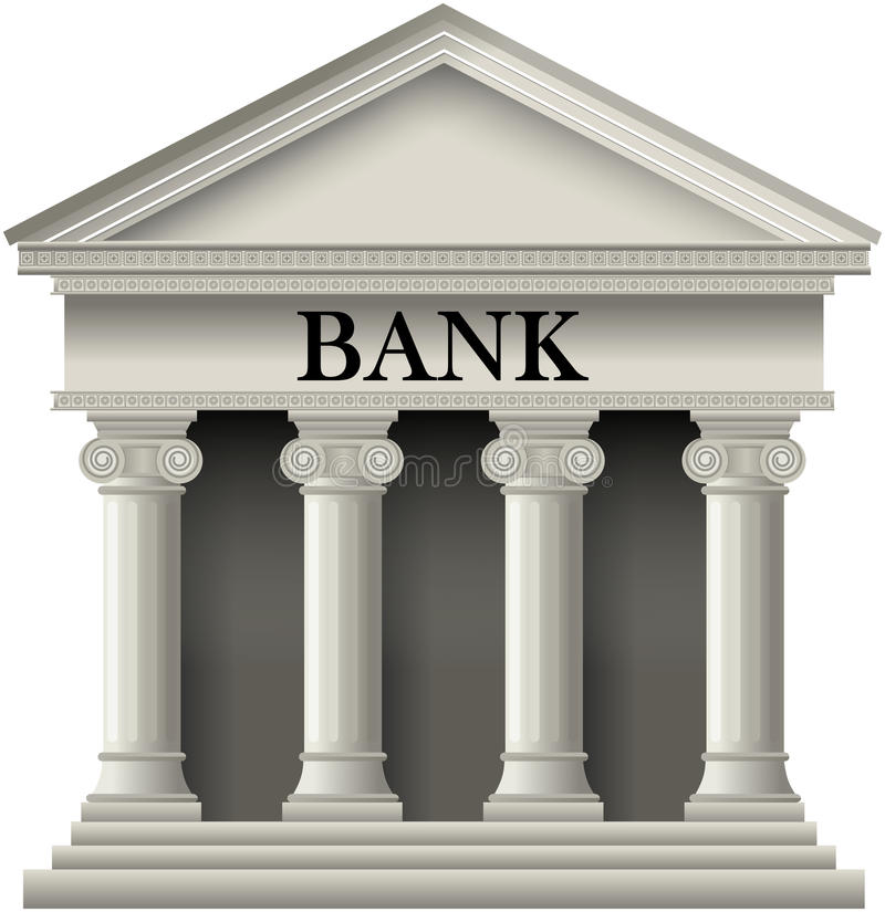 Bank Icon. Bank building icon in a classic greek temple style, isolated on white background. Eps file available