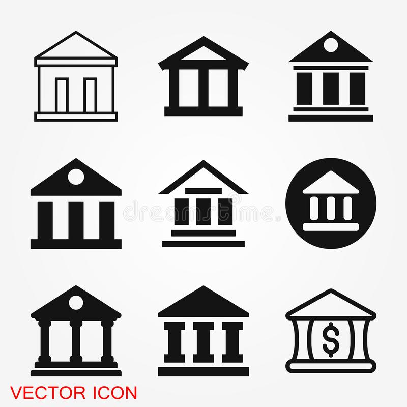 Bank icon design template. Vector icon, symbol royalty free stock photography