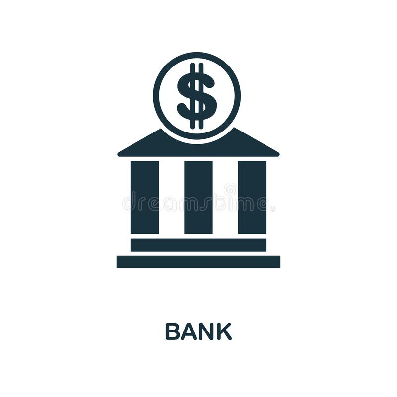Bank icon. Monochrome style design from city elements icon collection. UI. Pixel perfect simple pictogram bank icon. Web design, a. Bank icon. Monochrome style vector illustration