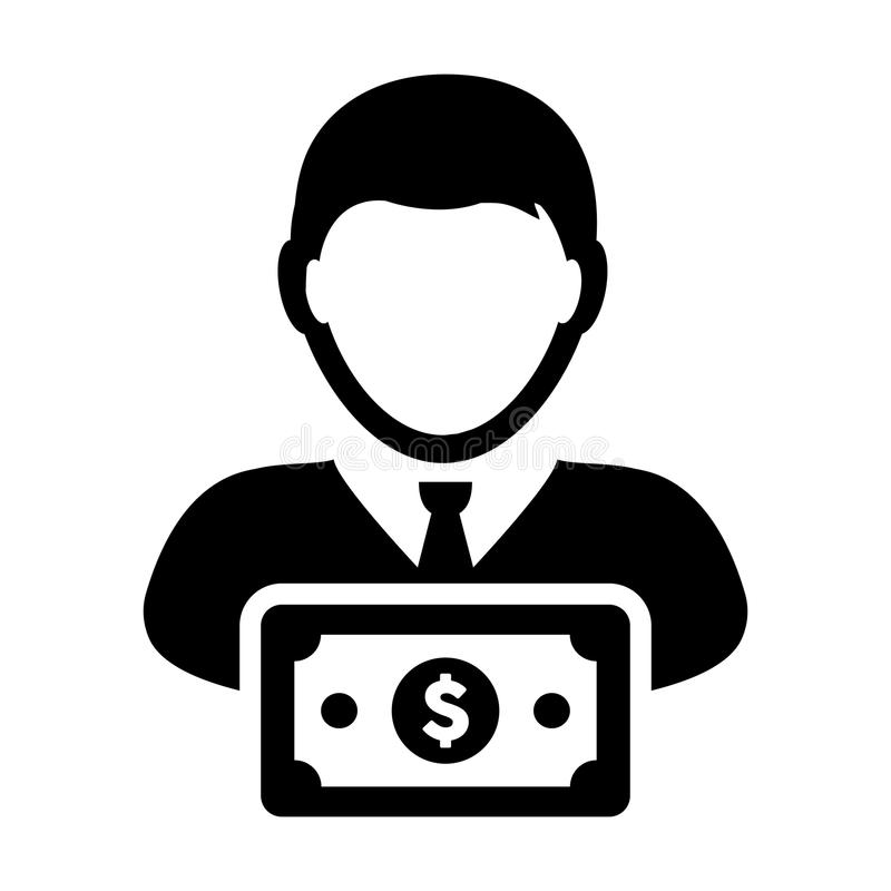 Bank Icon Vector Male User Person Profile Avatar With Dollar Sign