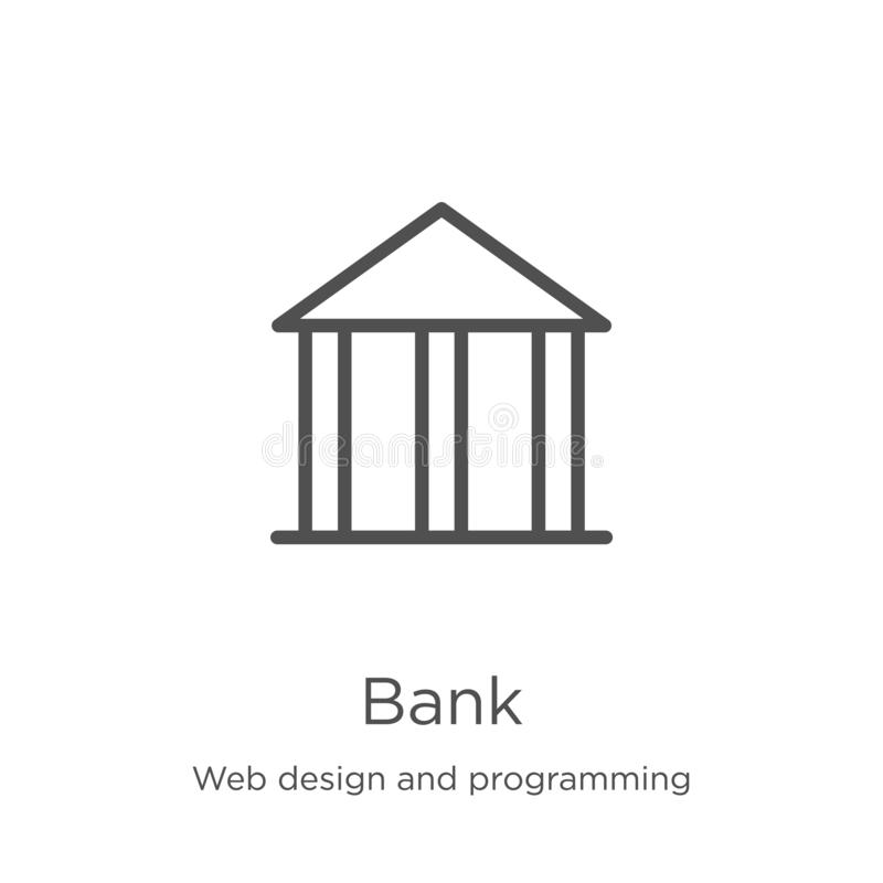 Bank icon vector from web design and programming collection. Thin line bank outline icon vector illustration. Outline, thin line. Bank icon. Element of web stock illustration