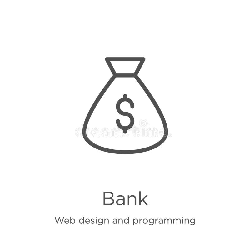 Bank icon vector from web design and programming collection. Thin line bank outline icon vector illustration. Outline, thin line. Bank icon. Element of web royalty free illustration
