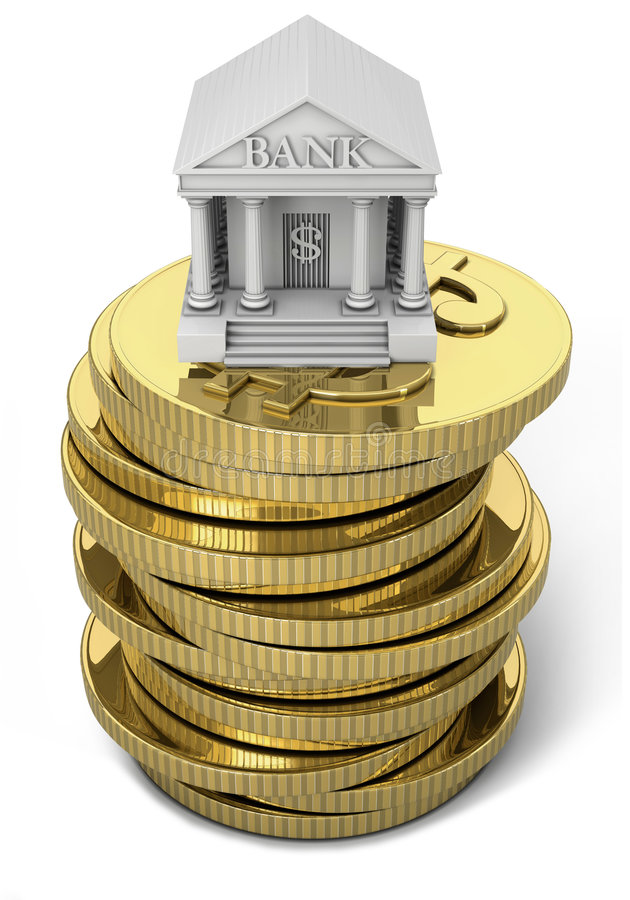 Free Bank Icon With Gold Coins Stock Images - 6763794