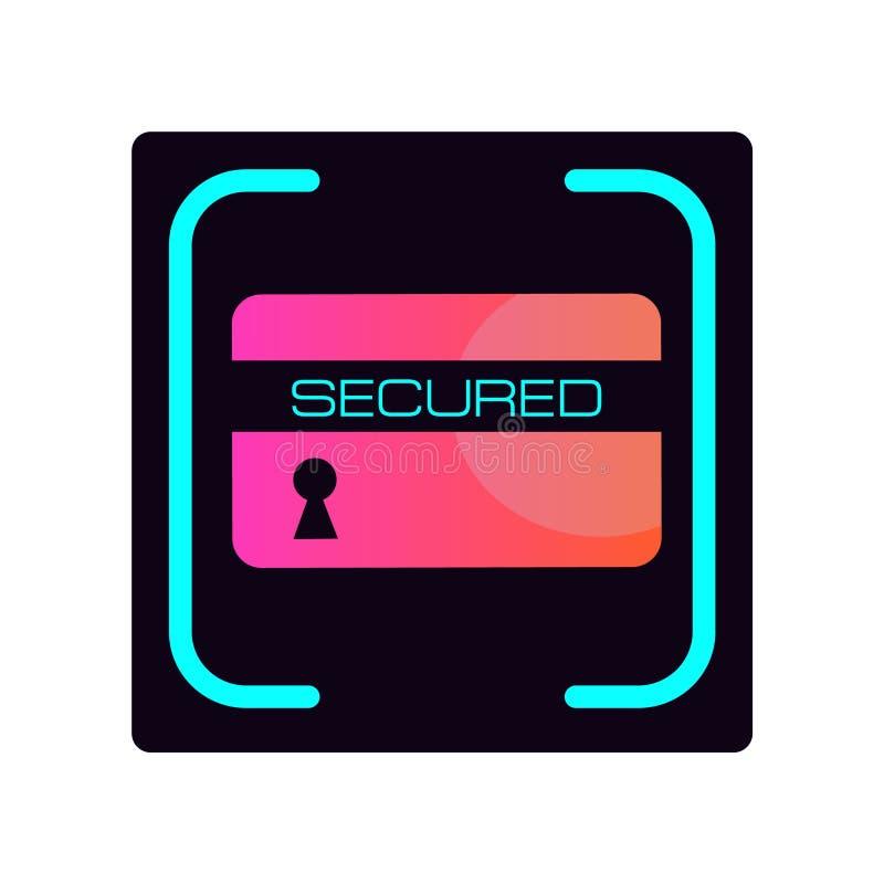 Bank ikona bezpiecznie Bank ochrona, karta i depozyt ochrona, target2347_1_ karciani pojęcia kredyta kuli ziemskiej internety kar ilustracji