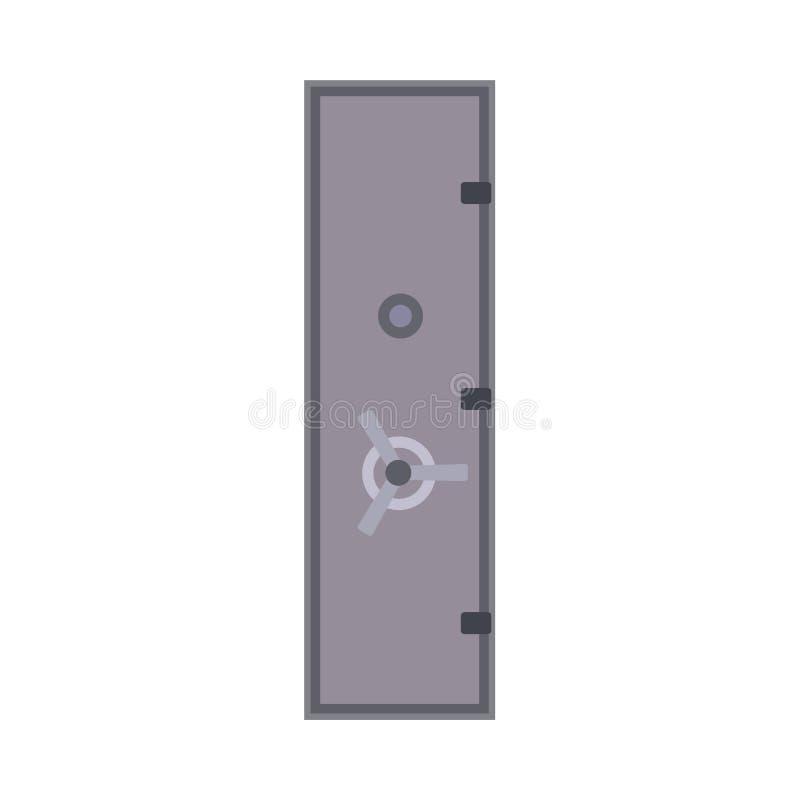 Bank ikony depozytu bezpieczny wektorowy drzwi Biznes ochrony metalu finansowy kędziorek odizolowywający Pieniądze pudełka gotówk royalty ilustracja
