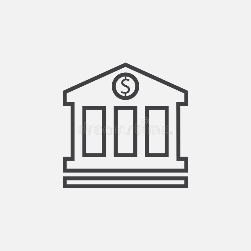 Bank ikony wektor odizolowywający na popielatym ilustracji
