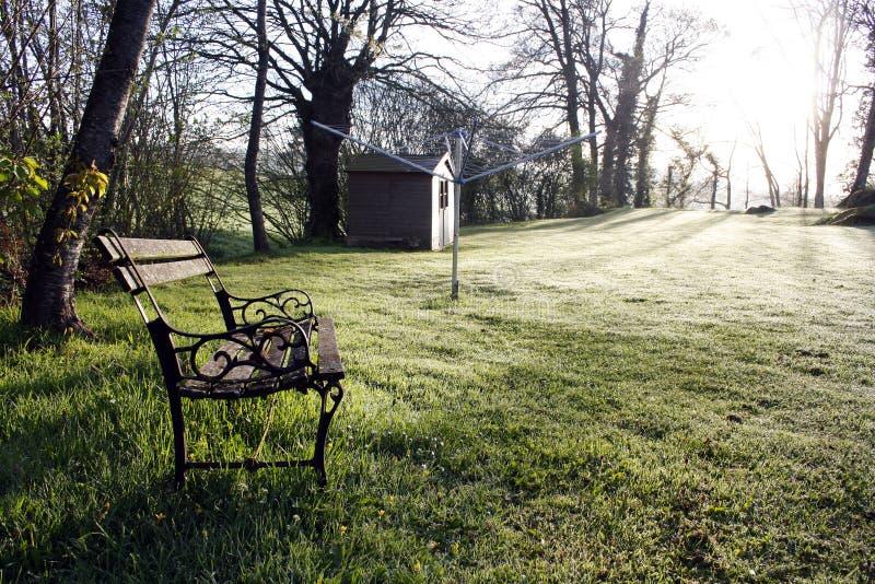 Download Bank im Sonnenaufgang stockfoto. Bild von sommer, field - 27732258