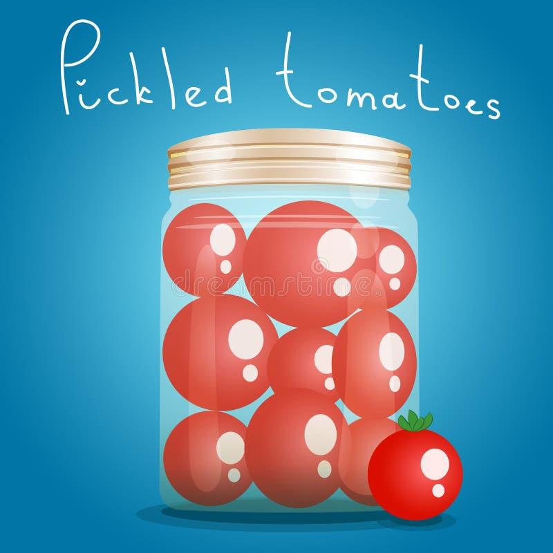 Bank ingelegde tomaten stock illustratie