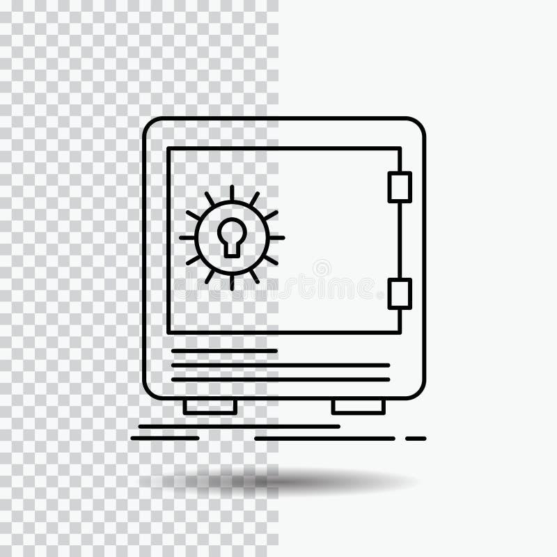 Bank insättning, kassaskåp, säkerhet, kassaskåplinje symbol på genomskinlig bakgrund Svart symbolsvektorillustration vektor illustrationer