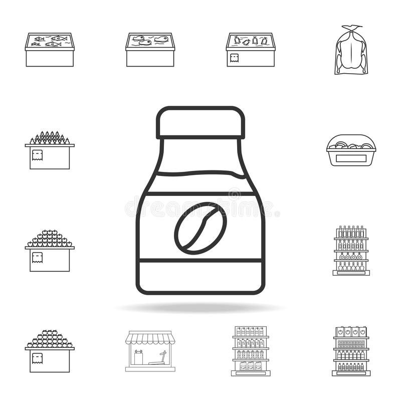 A bank of instant coffee icon. Detailed set of shops and hypermarket icons. Premium quality graphic design. One of the collection. Icons for websites, web vector illustration